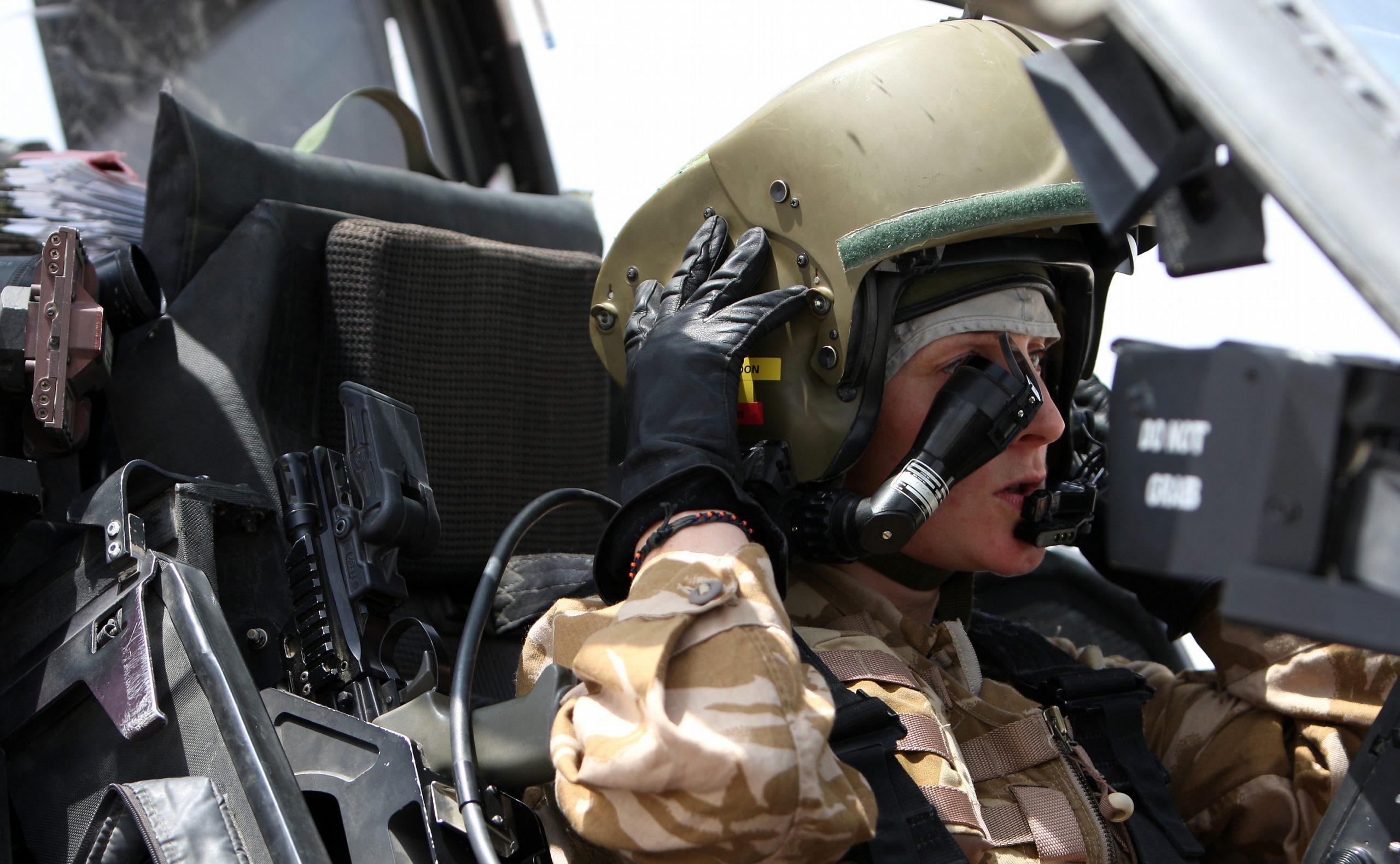 A British Army Boeing AH-64D Apache pilot