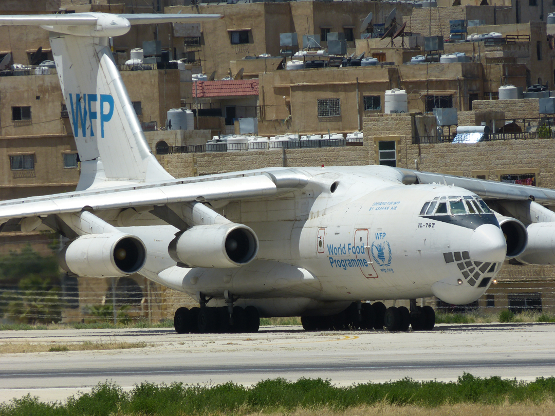 WFP Il-76 lines up on the runway of Jordan's Marka Airport