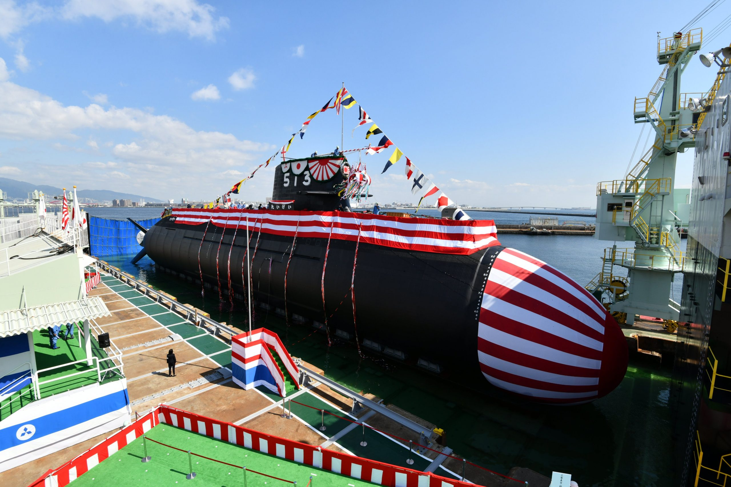 The launching ceremony for Taigei, the first-of-class 29SS submarines for the JMSDF. Commissioning is expected in 2022.