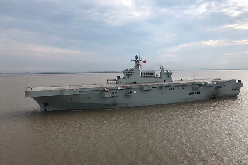 China's Type 075 landing helicopter dock during sea trials